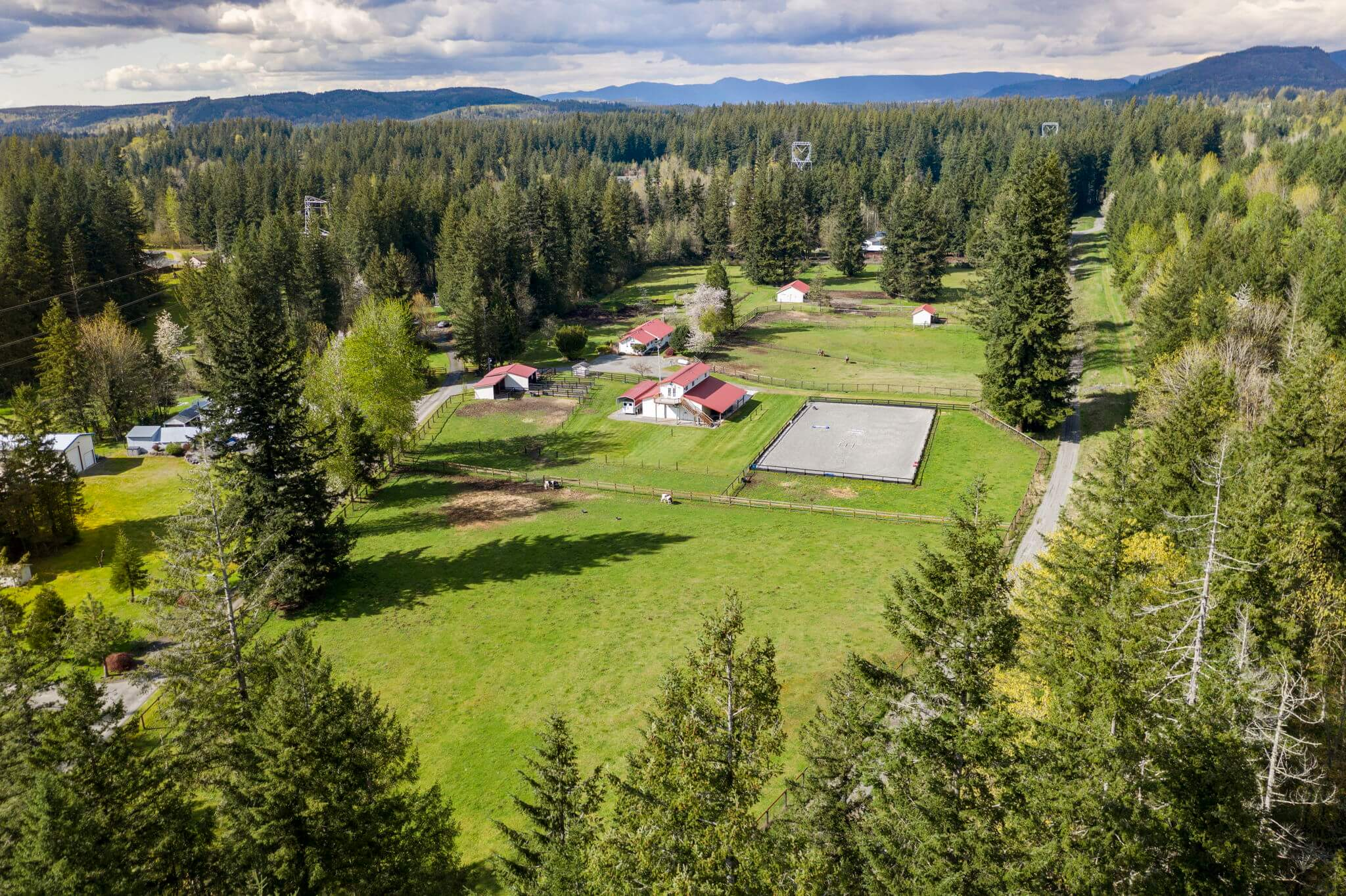 The farm includes a main house, a guest apartment, four barns and an outdoor arena